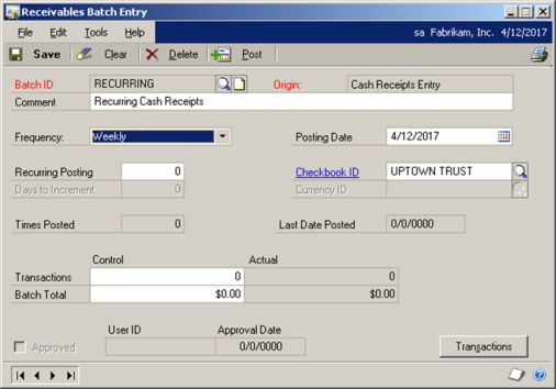 Creating a batch in Receivables Management